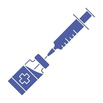 Ikona szczepionki koronawirusowej strzykawka ze znakiem fiolki butelka szczepionki medycznej z symbolem strzykawki
