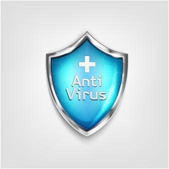 Ikona tarczy antywirusowej na białym tle. ochrona przed wirusem 3d kolor niebieski