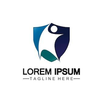 Ikona tarczy ludzi. logo ubezpieczenia na życie, ochrona człowieka lub ubezpieczenia koncepcja logo wektor ilustracja projektu na białym tle