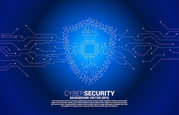 Ikona tarczy ochronnej z procesorem z linii połączeniowej w stylu płytki drukowanej. koncepcja ochrony i bezpieczeństwa strażników