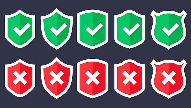 Ikona tarczy w modnym stylu płaski na białym tle, tarcza ze znacznikiem wyboru w środku. ikona ochrony koncepcja projekt strony internetowej, logo, aplikacja, interfejs użytkownika