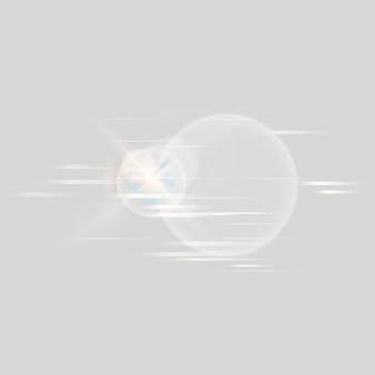 Ikona technologii flary obiektywu w kolorze białym na szarym tle