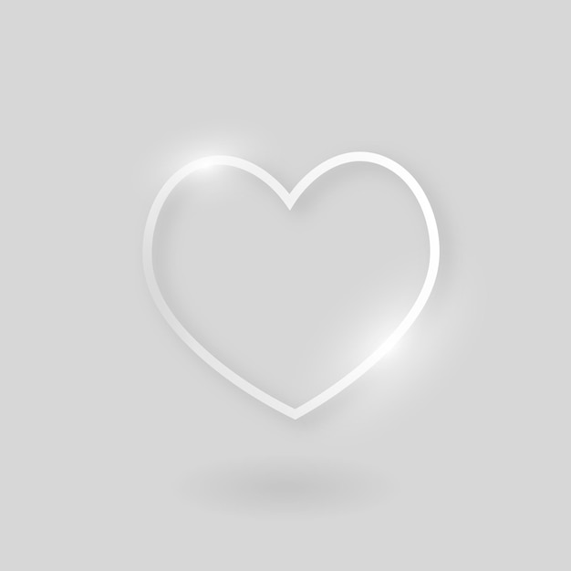 Ikona technologii wektor serca w kolorze srebrnym na szarym tle