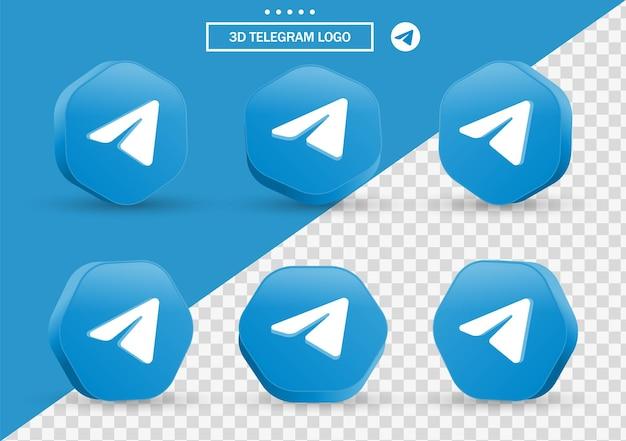 Ikona telegramu 3d w nowoczesnym stylu ramki i wielokąta dla logo ikon mediów społecznościowych