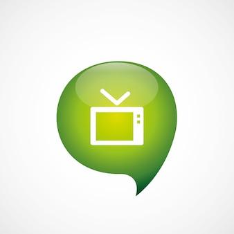 Ikona telewizora zielona myśl logo symbol bańki, izolowana na białym tle