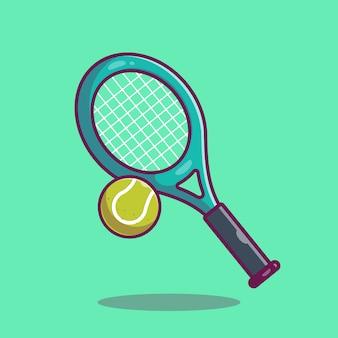 Ikona tenisa. rakieta i piłka tenisowa, sport ikona na białym tle