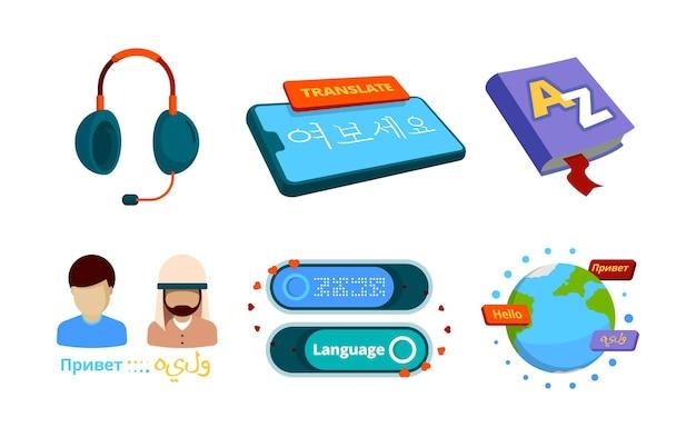 Ikona tłumacza. zdjęcia koncepcji usług tłumaczenia ustnego języka obcego dwujęzycznego wektorowego zestawu tłumacza. tłumaczenie i komunikacja ze słownikiem internetowym. ilustracja wektorowa