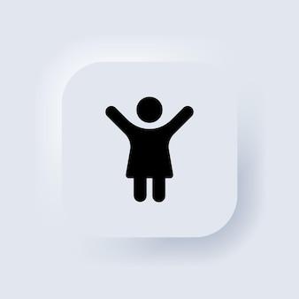 Ikona toalety. ikona kobiecej łazienki. biały przycisk sieciowy interfejsu użytkownika neumorphic ui ux. neumorfizm. wektor eps 10.