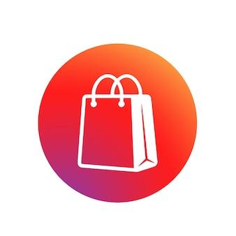Ikona torba na zakupy. przycisk w koncepcji mediów społecznościowych lub aplikacji, sieci, aplikacji. torba papierowa eko. ikona torebki. wektor na na białym tle. eps 10.