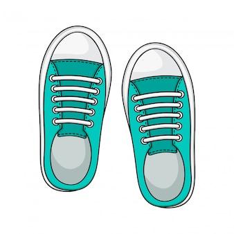 Ikona trampki, kolor miętowy. buty na codzień.