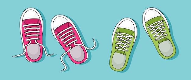 Ikona trampki, kolorowe pary. widok z góry. codzienne buty młodzieżowe. ilustracja