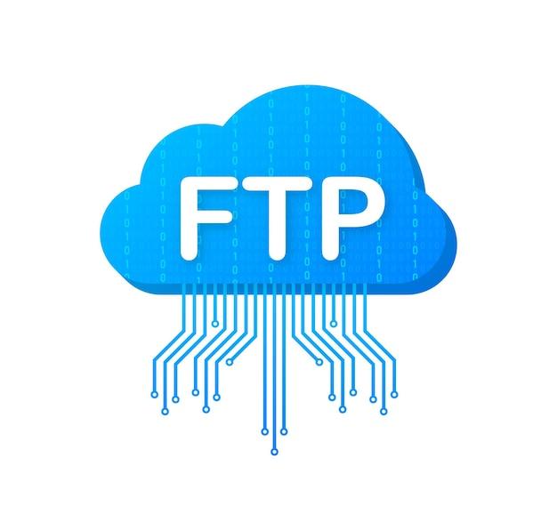 Ikona transferu plików ftp. ikona technologii ftp. prześlij dane na serwer. ilustracja wektorowa.