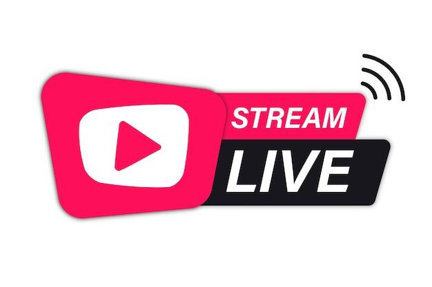 Ikona transmisji na żywo. element przesyłania strumieniowego na żywo do nadawania lub transmisji telewizyjnej online. ikony strumienia wideo. symbol na temat edukacji online z ikoną strumienia wideo na żywo, przesyłanie strumieniowe