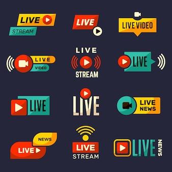 Ikona transmisji na żywo. wiadomości lub programy telewizyjne odtwarzają zestaw kolekcji odznak telewizyjnych.