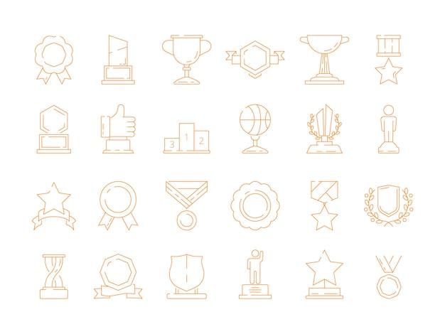 Ikona trofeum. zdobywcy pucharu jakości zwycięzcy sportowi nagradzają wektor znaków cienką linię