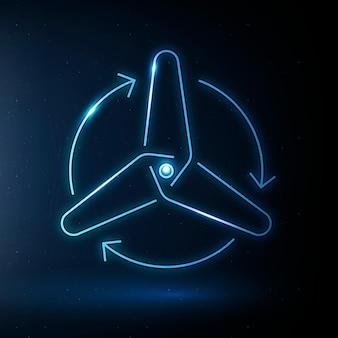 Ikona turbiny wiatrowej wektor symbol energii odnawialnej