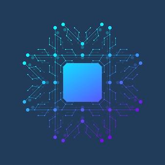 Ikona układu - symbol układu scalonego lub element projektu. chip komputerowy lub procesor mikroczipowy dla koncepcji sztucznej inteligencji (ai).