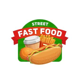 Ikona ulicy fast food. rysunkowy hot dog z kiełbasą, sałatką i musztardą, frytkami, kurczakiem