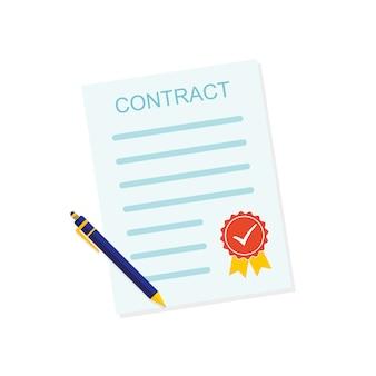 Ikona umowy kolorowy biznes. ilustracji wektorowych