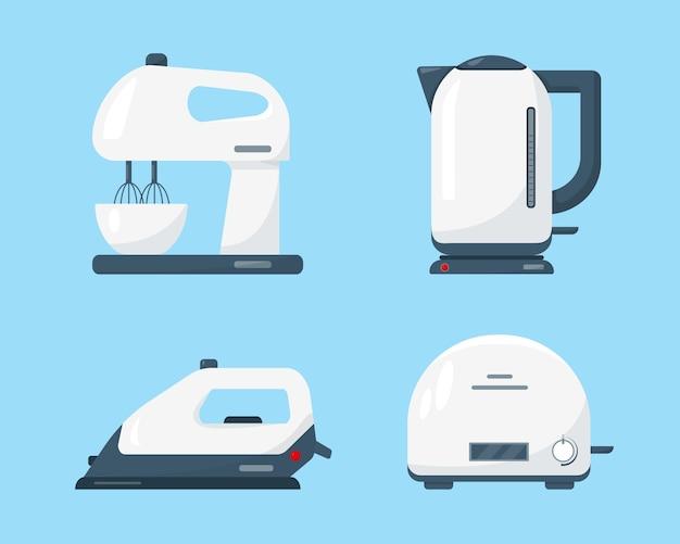 Ikona urządzenia gospodarstwa domowego na białym tle na niebieskim tle