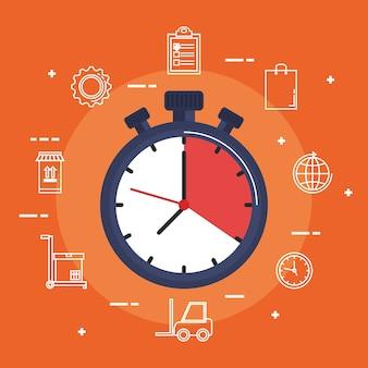 Ikona usługi dostawy chronometr