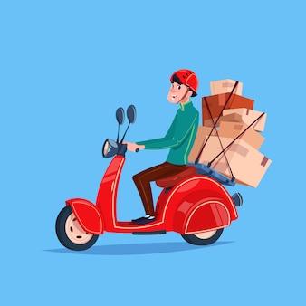 Ikona usługi ekspresowej dostawy kurier chłopiec jazdy motocyklem z pudełkami