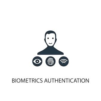 Ikona uwierzytelniania biometrii. prosta ilustracja elementu. projekt symbolu uwierzytelniania biometrii. może być używany w sieci i na urządzeniach mobilnych.