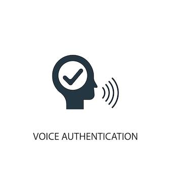 Ikona uwierzytelniania głosowego. prosta ilustracja elementu. projekt symbolu koncepcji uwierzytelniania głosowego. może być używany w sieci i na urządzeniach mobilnych.