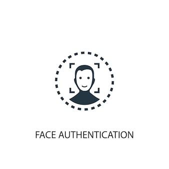 Ikona uwierzytelniania twarzy. prosta ilustracja elementu. projekt symbolu koncepcji uwierzytelniania twarzy. może być używany w sieci i na urządzeniach mobilnych.