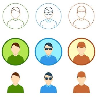 Ikona użytkownika awatara płaski obrys w sieci okrąg twarz wektor kolekcja awatarów dla sieci web i mobile