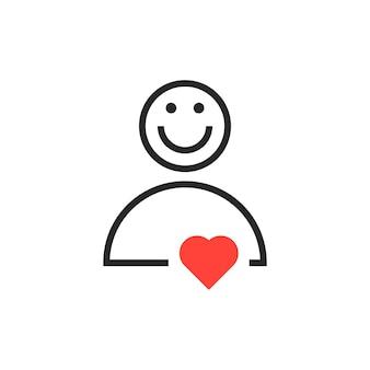 Ikona użytkownika z czerwonym sercem. koncepcja przyjaznego użytkownika, pomocy, pracy zespołowej, konsultanta, prezentu, spowiedzi, awatara. na białym tle. płaski trend nowoczesny projekt logo ilustracja wektorowa