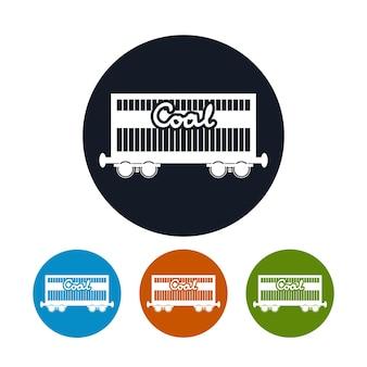 Ikona wagonu kolejowego na węgiel lub piasek lub inny materiał ziarnisty, cztery rodzaje kolorowych okrągłych ikon kolejowych wagonów towarowych, ilustracji wektorowych
