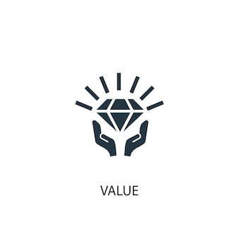 Ikona wartości. prosta ilustracja elementu. projekt symbolu koncepcji wartości. może być używany w sieci i na urządzeniach mobilnych.