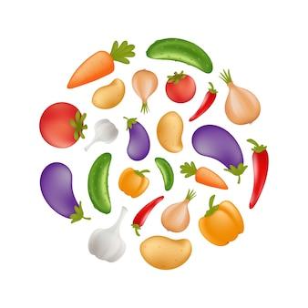 Ikona warzyw w okrągłym kształcie - ziemniak, marchewka, ogórek, cebula, papryka, pomidor, bakłażan, bakłażan, czosnek. zdrowe jedzenie wegetariańskie lub wegańskie. na białym tle