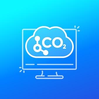 Ikona wektor badań emisji węgla
