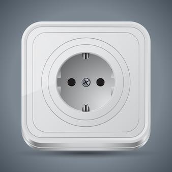 Ikona wektor biały gniazdka elektrycznego