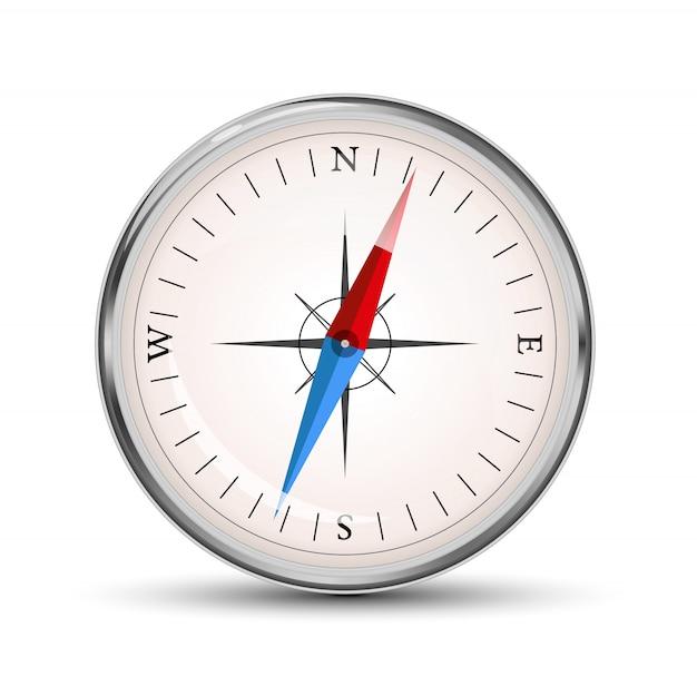 Ikona wektor błyszczący kompas na białym tle