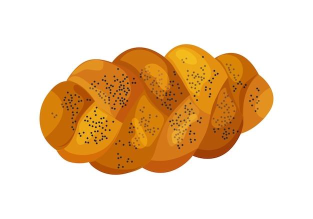Ikona wektor chała. świąteczny bochenek żydowski pleciony, kolorowy chleb szabatowy na białym tle. ilustracja żywności