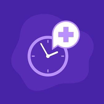 Ikona wektor czas wizyty lekarskiej