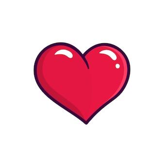 Ikona wektor czerwone serce na białym tle