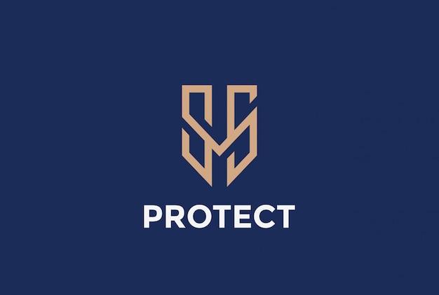 Ikona wektor logo ochrony tarczy.