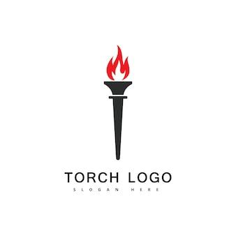 Ikona wektor logo ognia pochodni