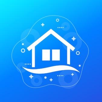 Ikona wektor powodzi z domu i wody