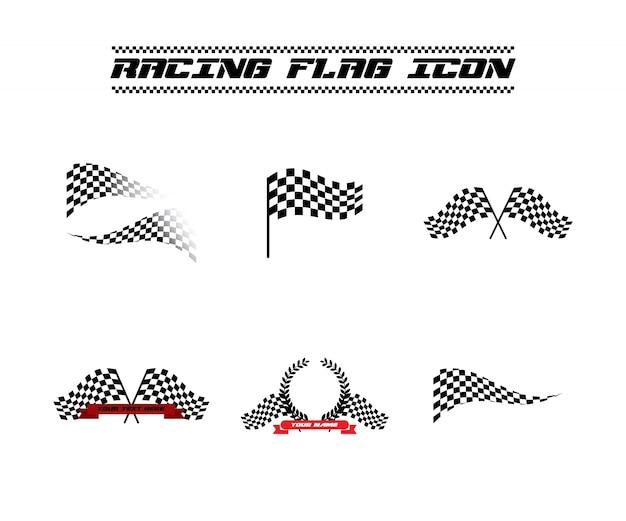 Ikona wektor w kratkę flaga