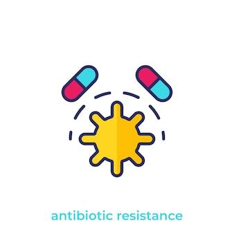 Ikona wektora odporności na antybiotyki na białym