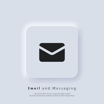 Ikona wiadomości e-mail. koperta. logo biuletynu. ikony poczty e-mail i wiadomości. e-mailowa kampania marketingowa. wektor eps 10. ikona interfejsu użytkownika. biały przycisk sieciowy interfejsu użytkownika neumorphic ui ux. neumorfizm