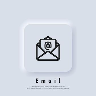 Ikona wiadomości e-mail. otwórz kopertę. logo biuletynu. ikony poczty e-mail i wiadomości. e-mailowa kampania marketingowa. wektor eps 10. ikona interfejsu użytkownika. biały przycisk sieciowy interfejsu użytkownika neumorphic ui ux. neumorfizm