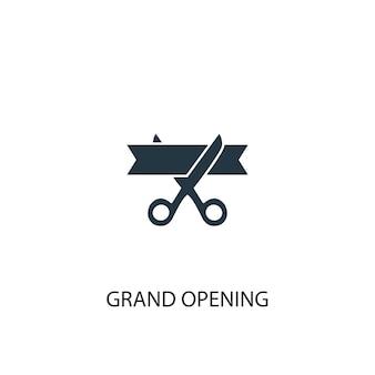 Ikona wielkiego otwarcia. prosta ilustracja elementu. koncepcja symbolu wielkiego otwarcia. może być używany w sieci i na urządzeniach mobilnych.