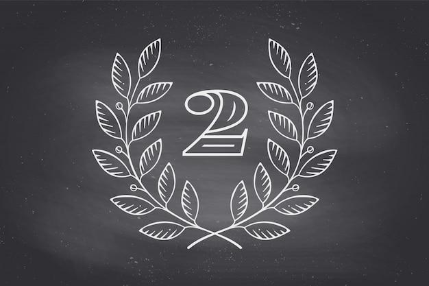 Ikona wieniec laurowy z numerem dwa