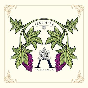 Ikona wina a dla wina fioletowego stylu ilustracji